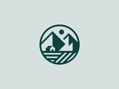 Farm geometry linework sun landscape mountains farm rebrand logo identity