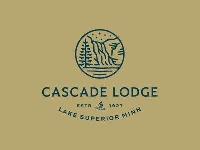 Cascade Lodge logotype bird identity logo stars sky trees lake superior waterfall wip