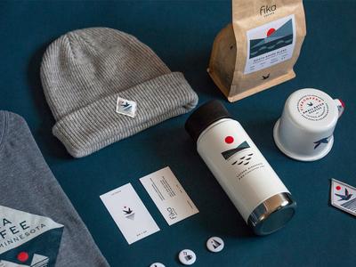 Fika Coffee Packaging buttons patch mug bird lake water apparel brand identity logo packaging coffee