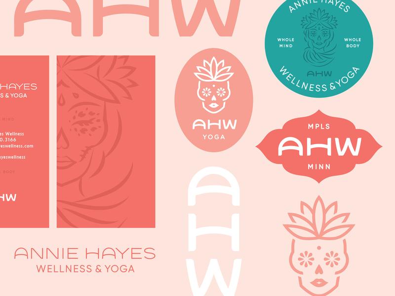 Annie Hayes Wellness logotype female sugar skull monogram brand identity yoga