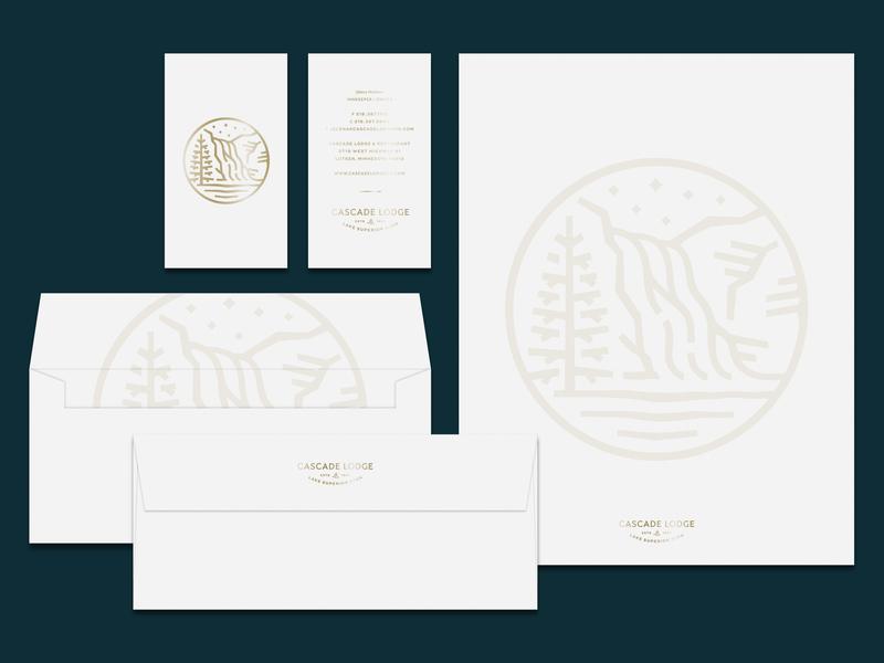 Cascade Lodge Stationery north tree bird stars waterfall logo illustration brand identity stationery branding
