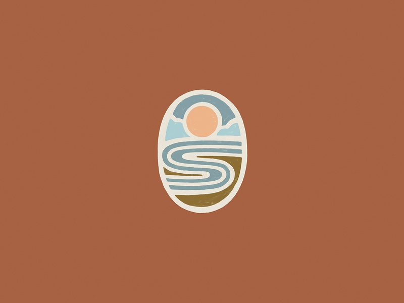 River Sun Clouds ! abstract earth organic illustration logo nature landscape clouds river sun