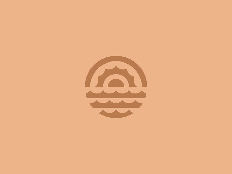 Round Sunrise identity brand logo outside nature water circle round sunrise sun
