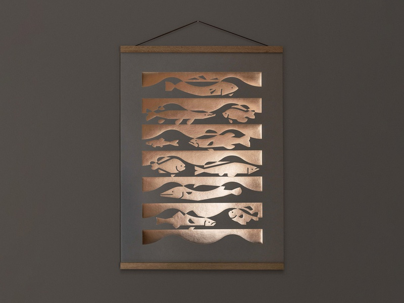 Fish Poster waves water nature design fish abstract illustration