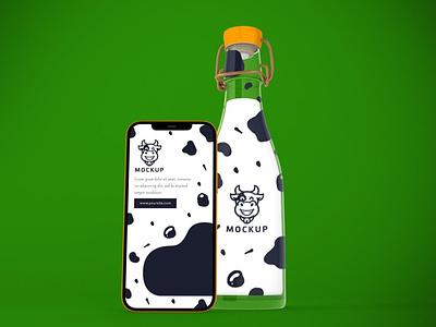 Milk Phone App Mockup webpage website ux ui presentation theme macbook mac laptop display simple clean realistic phone mockup smartphone device mockup abstract phone milk
