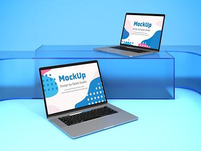 MacBook on Glass Mockups design webpage website web ux ui presentation theme mac laptop display simple clean glass macbook smartphone device mockup abstract phone