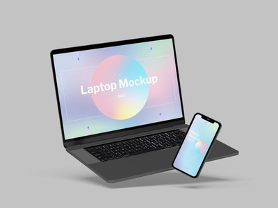 Laptop & Smartphone Mockup website webpage web ux ui presentation theme macbook mac laptop display simple clean realistic phone mockup smartphone device mockup abstract phone