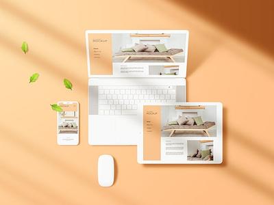 Multi Devices Screen Mockup website webpage web ux ui presentation theme macbook mac laptop display simple clean realistic phone mockup smartphone device mockup abstract phone
