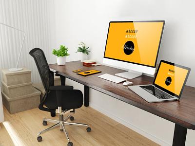 Home Office Desktop Mockup website webpage web ux ui presentation theme macbook mac laptop display simple clean realistic phone mockup smartphone device mockup abstract phone