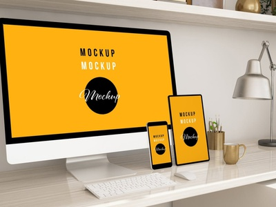 Home Office with Devices Mockup website webpage web ux ui presentation theme macbook mac laptop display simple clean realistic phone mockup smartphone device mockup abstract phone