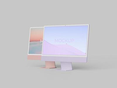 "iMac 24"" M1 Mockup website webpage web ux ui presentation theme macbook mac laptop display simple clean realistic phone mockup smartphone device mockup abstract phone"