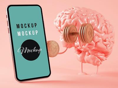 Brain Training and Smartphone on Pink Background website webpage web ux ui presentation theme macbook mac laptop display simple clean realistic phone mockup smartphone device mockup abstract phone