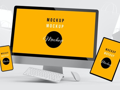 Floating Devices Mockup with White Shopping Bags website webpage web ux ui presentation theme macbook mac laptop display simple clean realistic phone mockup smartphone device mockup abstract phone