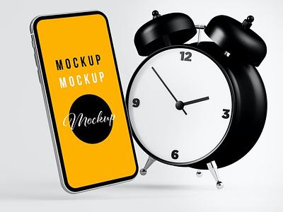 Phone and Clock Mockup website webpage web ux ui presentation theme macbook mac laptop display simple clean realistic phone mockup smartphone device mockup abstract phone
