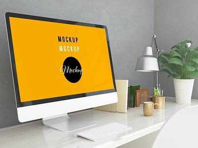 Computer at Home Office Mockup website webpage web ux ui presentation theme macbook mac laptop display simple clean realistic phone mockup smartphone device mockup abstract phone