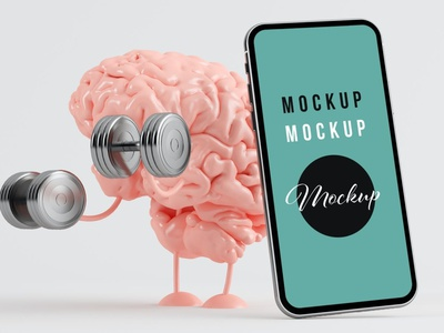 Brain Training and Smartphone on White Background illustration design website webpage web ux presentation theme macbook laptop display simple clean realistic phone mockup smartphone device mockup abstract phone