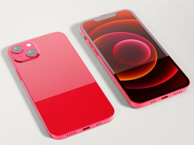 Red iPhone 13 Mockup ux ui presentation theme display simple clean realistic phone mockup smartphone device mockup abstract phone ios screen apple iphone 13 iphone 13 pro iphone