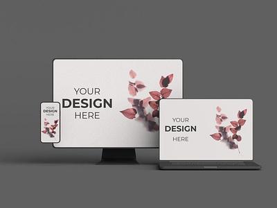 Responsive Devices Mockup webpage web ux ui presentation theme macbook mac laptop display simple clean realistic phone mockup smartphone device mockup abstract phone responsive