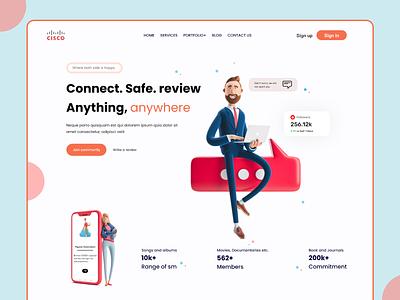 """CISCO"" Safe Review Landing Page blog agency typography retro design creative design ui ux web web design branding interface illustration freelancer landing page"