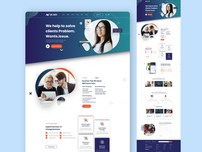 UE.SEO Digital Agency Landing Page problem solved desktop page concept digital agency seo logo illustration design interface branding ui design web design motion graphics