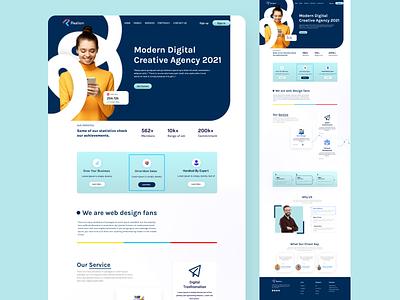 Realism Mordern Digital Creative Agency 2021  Landing Page motion graphics illustration branding design ui ux web web freelancer interface concept page mordern agency digital agency 2021