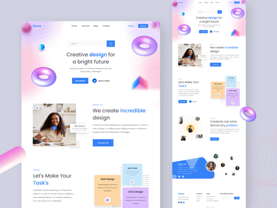Zeros Creative Design landing page uiux agency one page minimal about us our work creatie design 3d landing age graphic design motion graphics 3d illustration branding interface design landing page