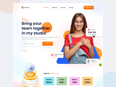 Bring your team together in my Studio. uiux landing page saas startup design branding ui freelancer web interface templete web page