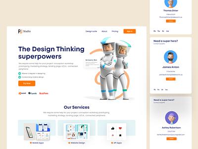 Design Thinking Landing Page Design ui header exploration clean ui ui ui design interface homepage landing page website design website user interface design user experience design