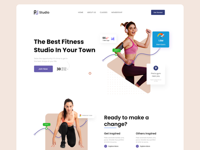 Fitness Website Design sport yoga gym fitness health training lifestyle landing page product page fitness club