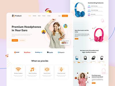 Premium Headphone Landing page UI music online shop e-co minimal shop mordern headphone ui product landing page