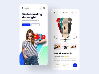 Skateboarding || Be Skate Mobile Responsive mobile ui popular ui interface app ios mobile app minimal skateboard skate shop