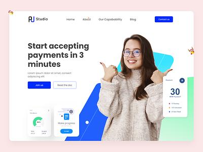 Payment - Header Website Design homepage card transfer marketing website finance pay digital header bank online banking payment