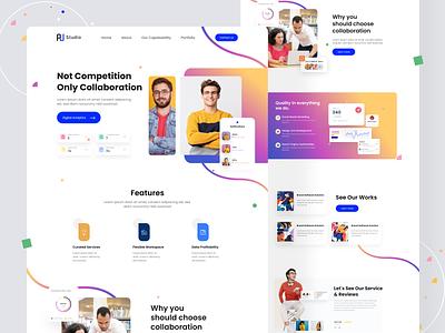 Online Collaboration platform design landing page web website ui design teamwork partnership collaboration interface landingpage platform