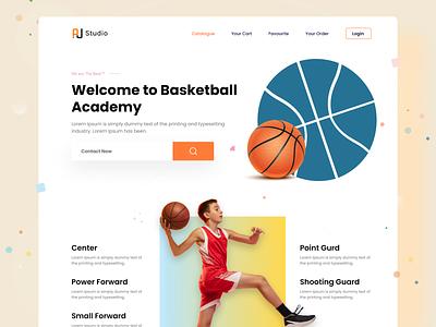 Basketball Academy Web Design baseball esport gym gamingplatform playing sport homepage ui busketball landingpage product