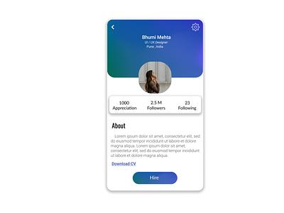 Daily UI :: 006   Challenge #6   User Profile social profile ux ui mesh gradient gradient design job finder hiring dailyui challenge login dailyui