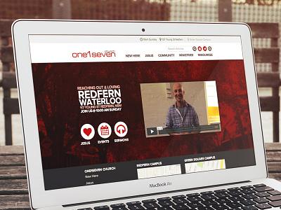 on1seven church website red circles proxima nova crtvmin typography webfont