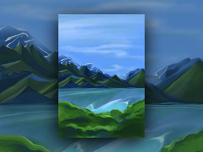 Landscape Painting painting brushes digital procreate illustrator painting illustration