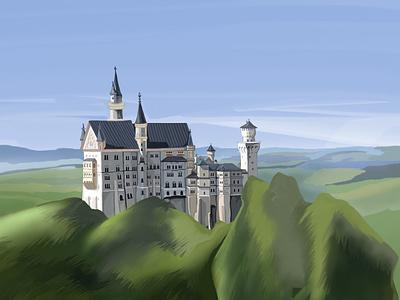Castle On The Hill design shadows castle travel digital painting drawing illustrator graphic design illustration