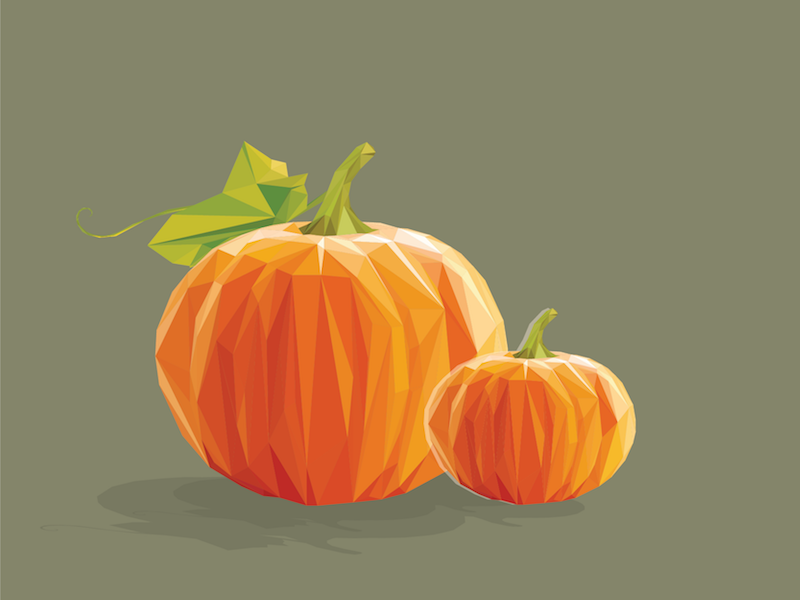 Happy Pumpkin Season! low poly vector fall thanksgiving halloween graphic design illustration