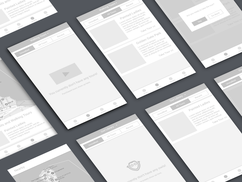 Wireframe Presentation user flow design thinking design process vrar mid-fidelity wireframe
