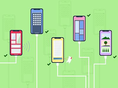 Smartphone Connectivity vector shadows graphic design flat design illustration