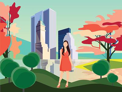 A walk in the park product design shadows vector illustrator interface design flat design illustration graphic design