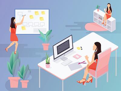 In The Office shadows illustrator flat design product design design illustration graphic design