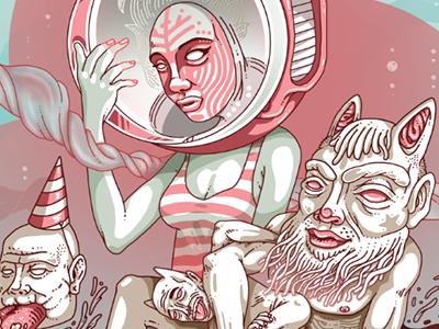 PAN digital wacom artist illustrator illustration color pan fear peace pink art character design