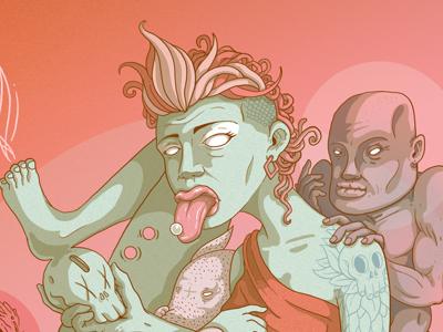 MITRA digital wacom artist illustrator illustration pan fear peace pink color palette art character design