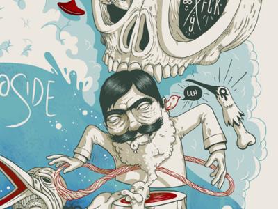 Los Locos digital wacom artist illustrator illustration pan fear peace pink color palette art character design