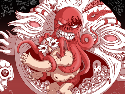 WRSTLR istanbul digital wacom artist illustrator illustration color wrestler fear octopus art character design