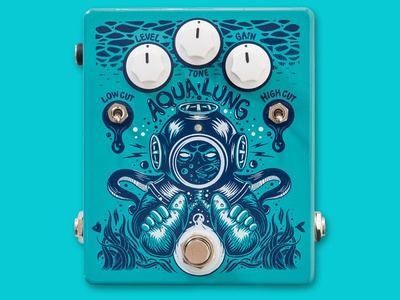 AQUA LUNG Overdrive Pedal drawing music pedal effect guitar product art direction graphic design illustration