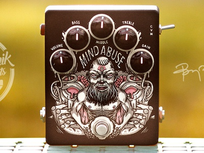 Mind Abuse / High Gain Distortion Pedal-Preamp illustration graphic design art direction product guitar effect pedal music drawing