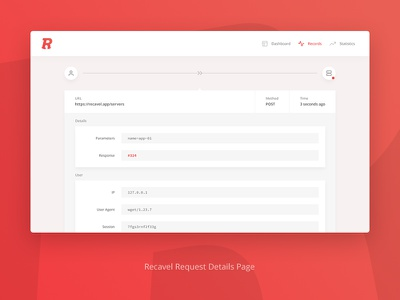 Recavel Request Details Page webdesign screendesign monitoring interface web ui data gradient dashboard